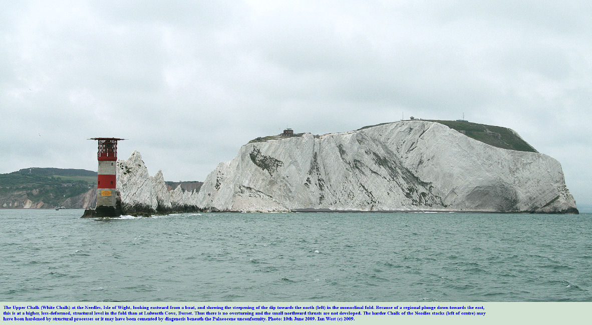The Needles and Scratchell's Bay seen from the sea and looking east, Isle of Wight, southern England, 10th June 2009