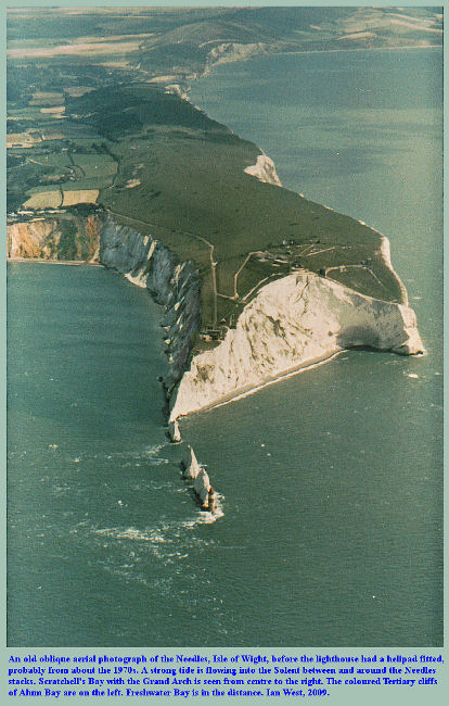 An old oblique aerial photograph of the Needles area with Chalk Cliffs, Isle of Wight, southern England