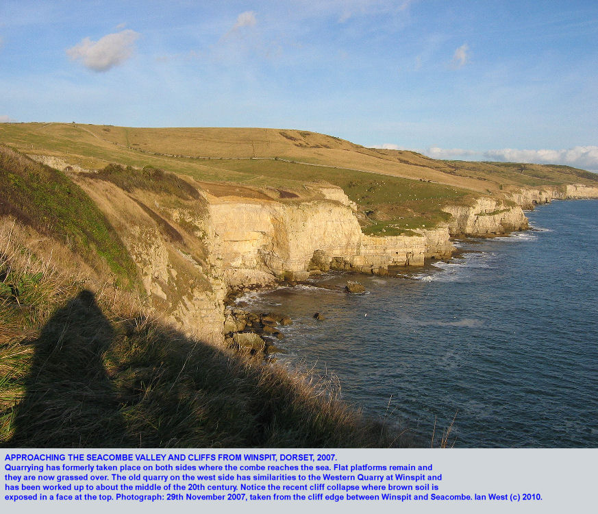 Approaching Seacombe valley, cliffs and quarries from Winspit, Dorset, by the coast path, 2007
