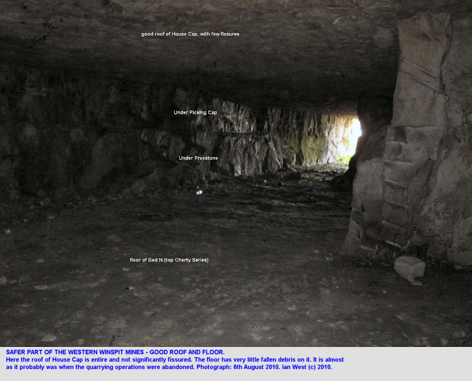 A good roof and floor in part of the Under Freestone galleries, Western Winspit Quarry, Dorset