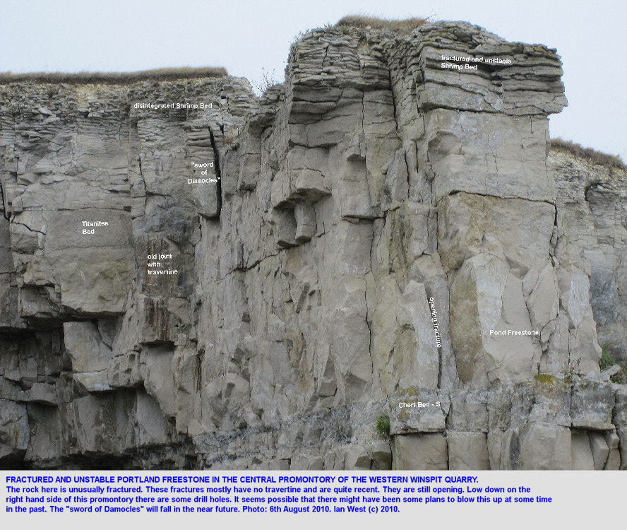 Unstable and failing blocks of limestone in the upper part of the central promontory, Western Winspit Quarry, Dorset, 2010