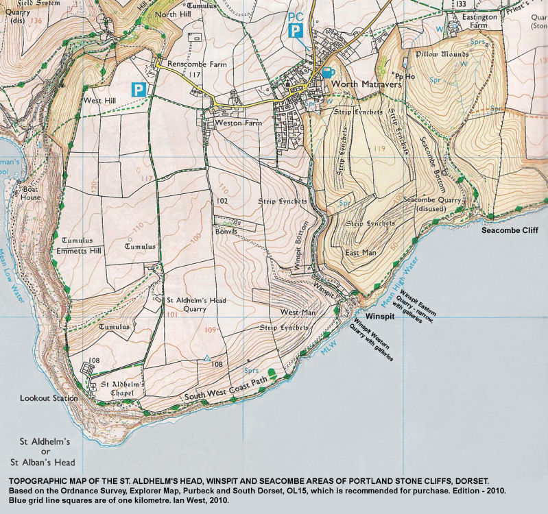 Topographic map of the coast at St. Aldhelm's Head, Winspit, and Seacombe, Dorset