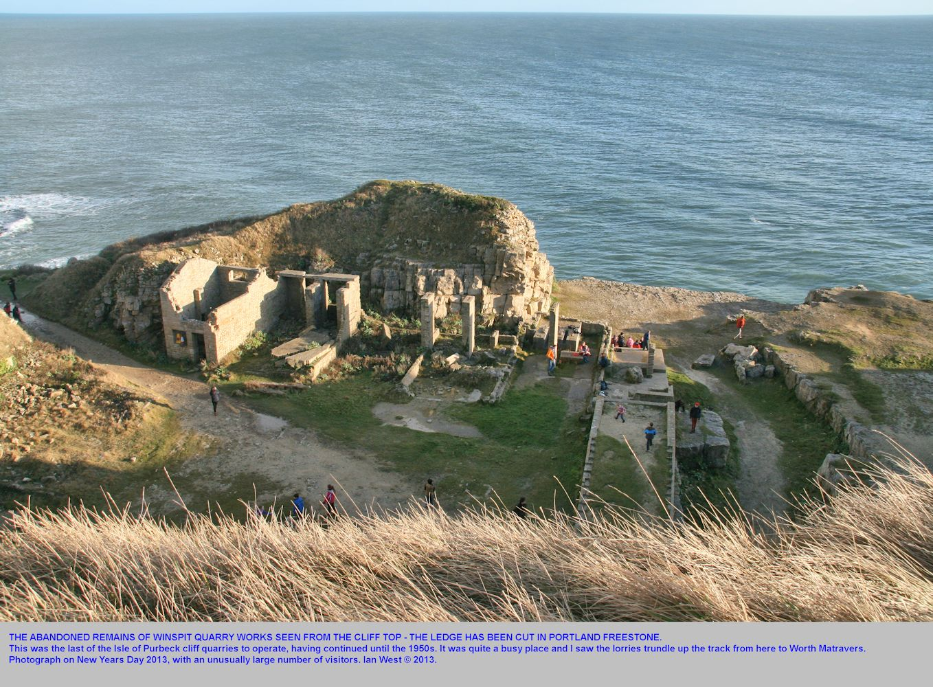 Looking down from the cliff top to the abandoned Winspit Quarry, Isle of Purbeck, Dorset, on the west side, 1st January 2013