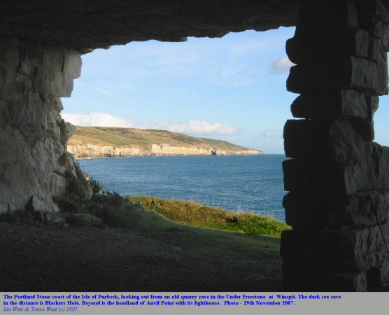 View eastward from a quarry cave at Winspit, Isle of Purbeck, Dorset