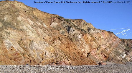 The Coarse Quartz Grit in the cliffs of Worbarrow Bay, Dorset, Dec 2003