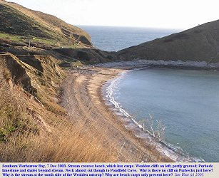 Southernmost part of the beach in Worbarrow Bay with some sand and with beach cusps