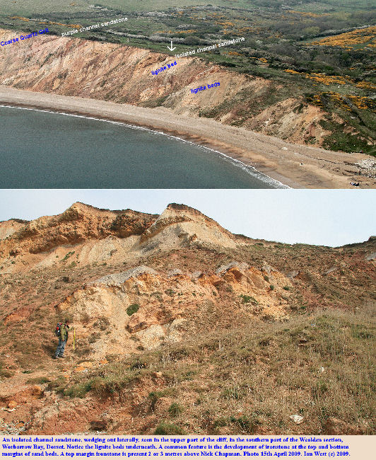 The location of an isolated channel sandstone, in the lower part of the Wealden Group, Worbarrow Bay, Dorset, 15th April, 2009