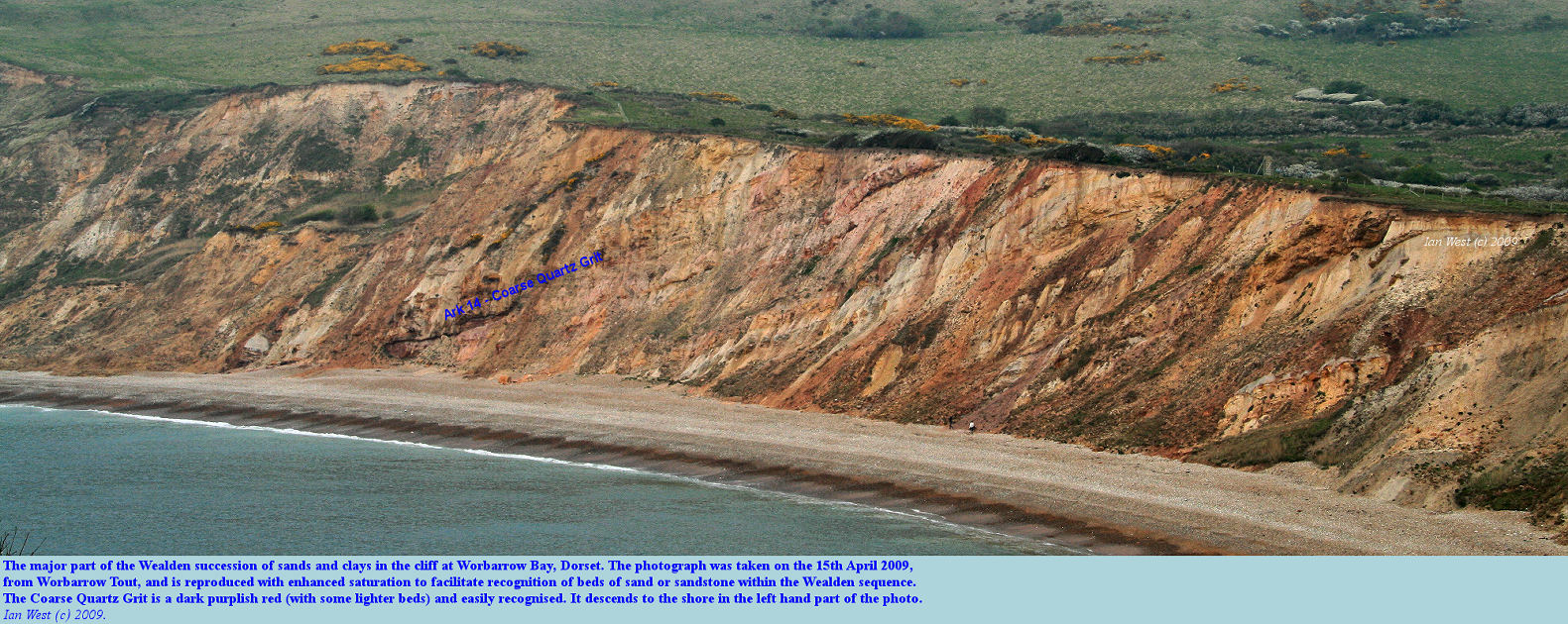 A view of the Wealden strata in the cliffs of Worbarrow Bay, Dorset, as seen from Worbarrow Tout on the 15th April 2009, but shown with enhanced saturation