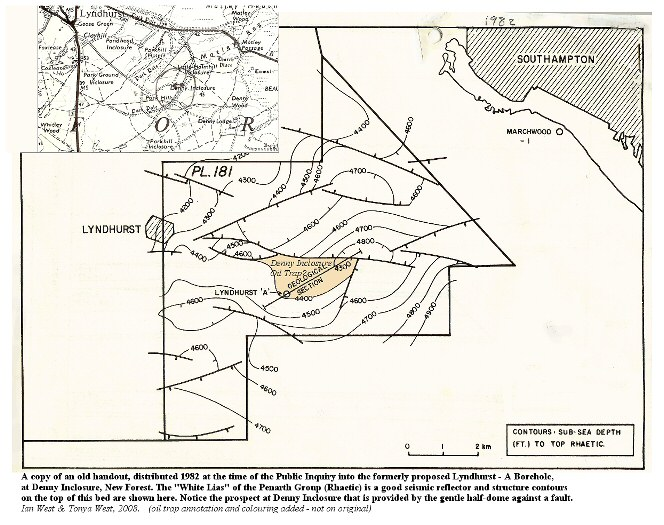 Old structure contour map of the White Lias, Penarth Group (Rhaetic) showing a possible oil trap at Denny Inclosure, New Forest, Hampshire