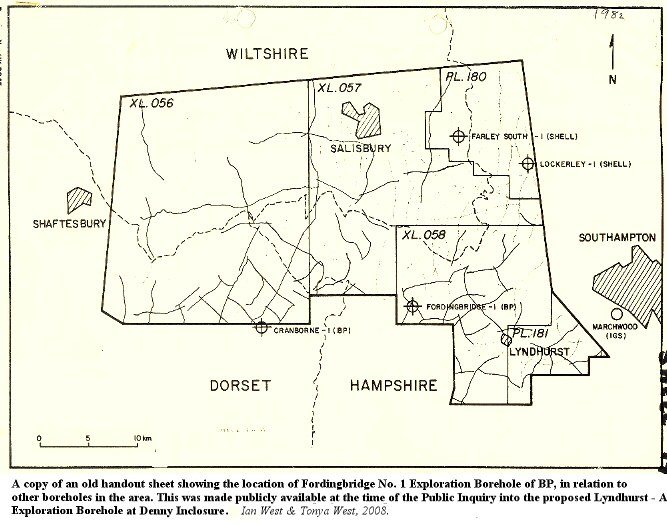 The location of the 1959, Fordingbridge No. 1, Petroleum Exploration Well in relation to some other boreholes of the New Forest and adjacent region