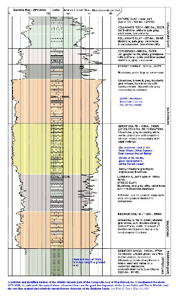 The Middle Jurassic part of the succession in the Composite Log of the 1979-1980, Marchwood Geothermal Borehole No. 1, redrawn by Ian West with some additional notes