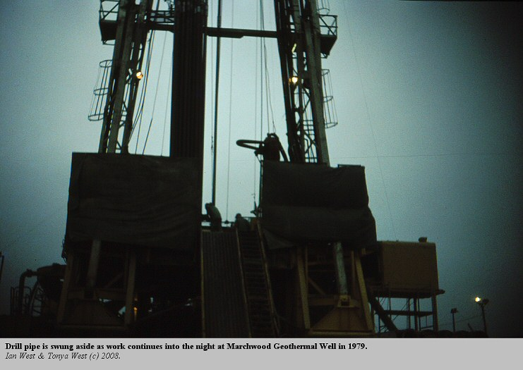 Drilling work at the  Marchwood Geothermal Borehole in 1979 continues into the night