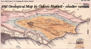 Part of Mantell's old geological map of southeast England