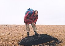Peat on Chesil Beach, Abbotsbury, with author, 18.10.2000