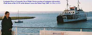 The Lymington-Yarmouth ferry and saltmarshes - older photograph, 2002