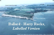 Ballard Point to Harry Rocks, Chalk cliffs, labelled