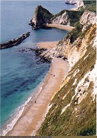 Red Hole to Durdle Door promontory, view from the cliff edge, April 2002