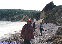 Whitecliff Bay cliffs, Isle of Wight, Ian West and students