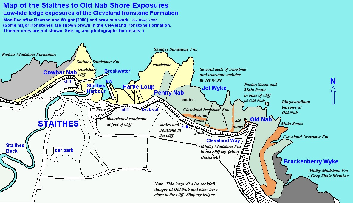 Map Of Uk East Coast.Staithes Yorkshire Coast Uk Geology Field Guide