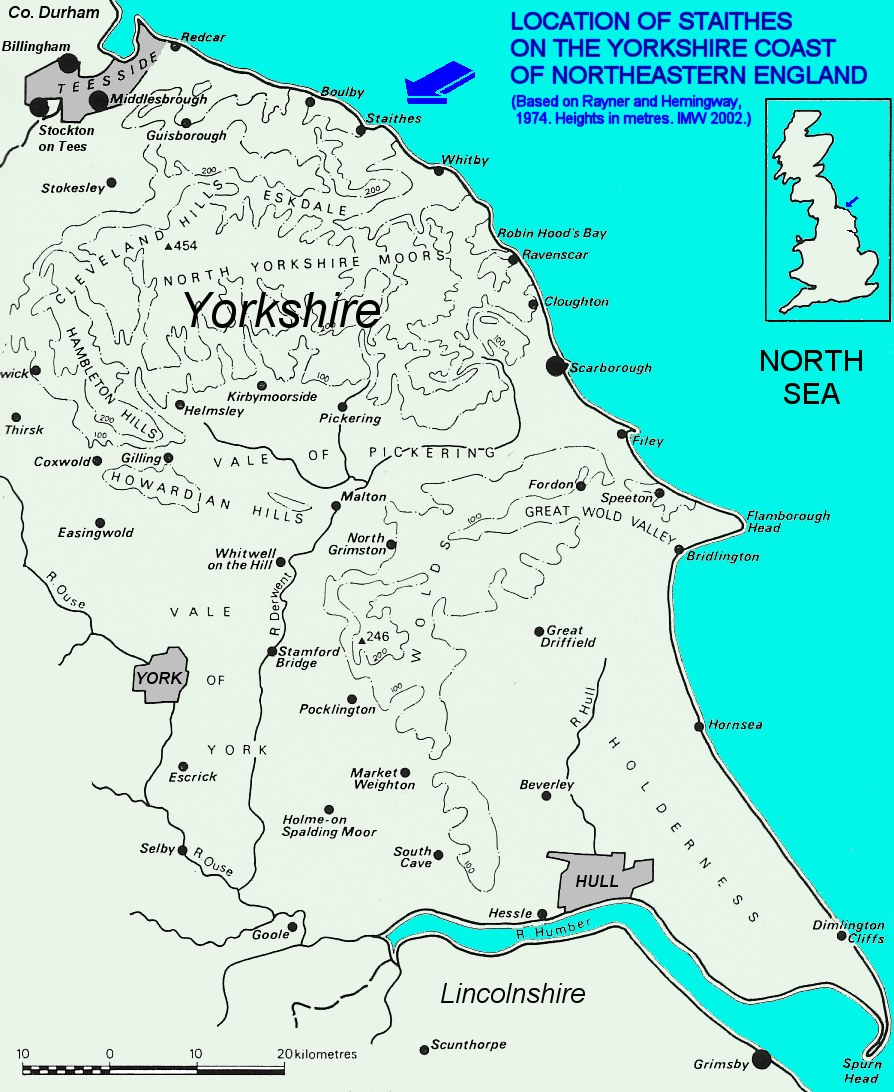 Map Of Yorkshire Coast Staithes, Yorkshire Coast, UK   Geology Field Guide Map Of Yorkshire Coast