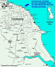 Map of east Yorkshire to show Staithes