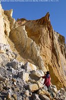 Badlands-type erosion of coloured sands, Poole Formation, Alum Bay, 2003