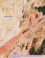 Patch of crimson sand, Branksome Sand Formation, Alum Bay, 2003