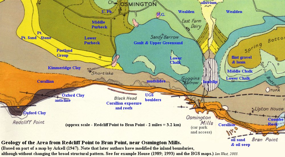Map Of England Jurassic Coast.Geology Of Osmington Mills Dorset England Geological Guide By