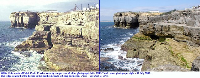 Comparison of photographs showing erosion at White Hole, Isle of Portland