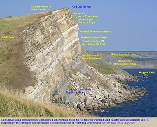Gad Cliff from the west, with major units labelled