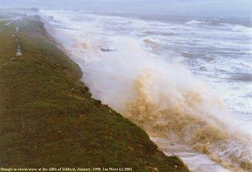 Storm wave hits sea-defences, Milford-on-Sea, Christchurch Bay
