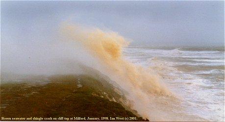 Storm wave throws shingle, Milford-on-Sea, Christchurch Bay