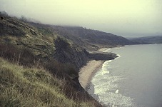Above Church Cliffs near the Lyme Volcano, old photo, 1970s or 80s