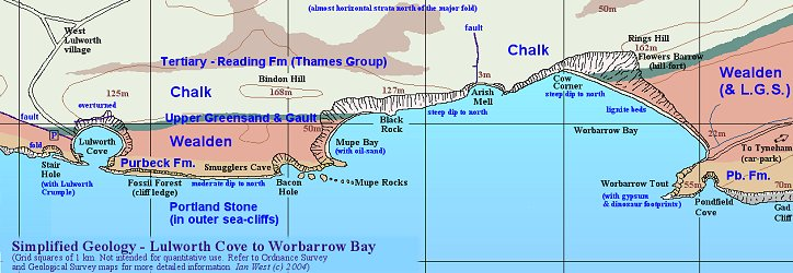Simplified geological map of the coast from Lulworth Cove to Worbarrow Bay, Dorset, Wessex Coast