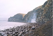 Oil-shale fire east of Cuddle, Kimmeridge, Dorset