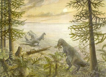 Ornithopods enter the Purbeck forest at the edge of the salt lake (painting by Anthea Dunkley)