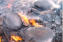Oil-shale fire, Kimmeridge, close-up