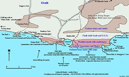 Simplified geological map of the Lulworth Cove area, Dorset, Wessex Coast