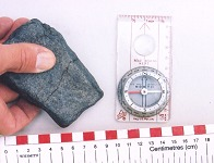 Rectangular magnetite pebble