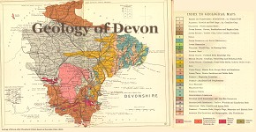 Old, small-scale geological map of Devon